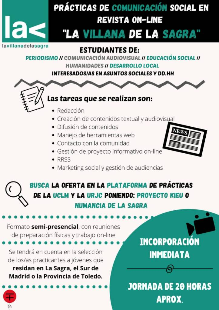 Oferta de prácticas de periodismo y comunicación social en La Villana de La Sagra
